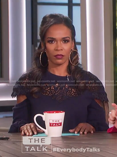 Michelle Williams's blue lace inset sweater top on The Talk