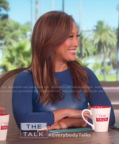 Carrie Inaba's blue leather panel dress on The Talk