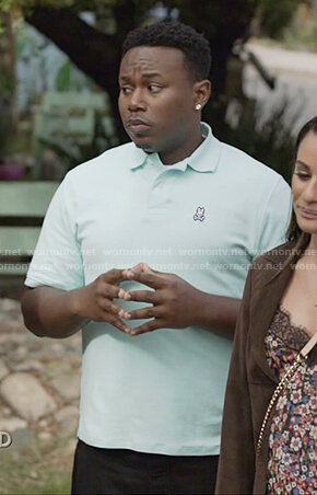 T.K.'s aqua blue polo shirt on The Mayor