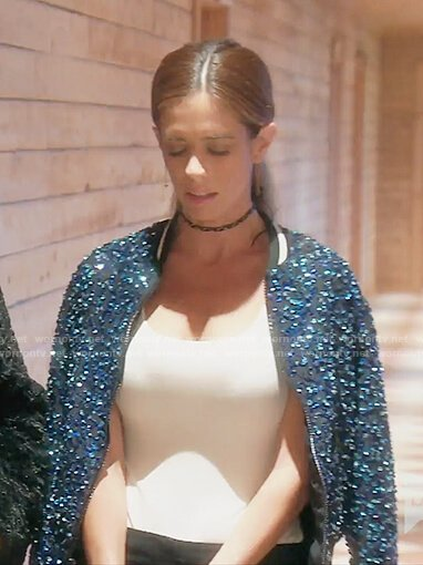 Lydia's blue sequin bomber jacket on The Real Housewives of OC