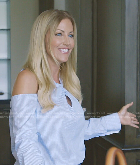 Stephanie's blue striped cold-shoulder top on The Real Housewives of Dallas