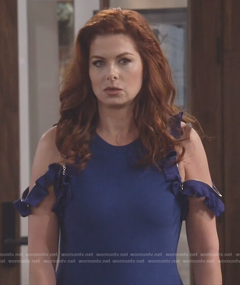 Grace's blue ruffle trim zipper dress on Will and Grace