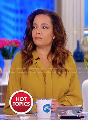 Sunny's mustard tie neck dress on The View