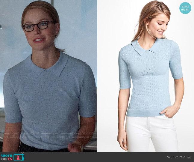 Brooks Brothers Pointelle Polo Sweater worn by Kara Danvers (Melissa Benoist) on Supergirl