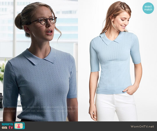 Brooks Brothers Pointelle Polo Sweater worn by Melissa Benoist on Supergirl