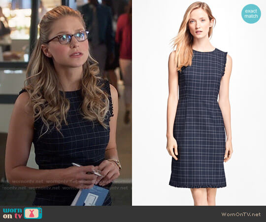 Brooks Brothers Windowpane Stretch Wool Hopsack Dress worn by Kara Danvers (Melissa Benoist) on Supergirl