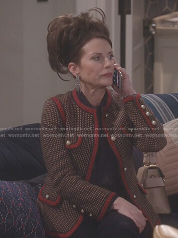 Karen's tweed red trim jacket with embroidered tiger back on Will and Grace