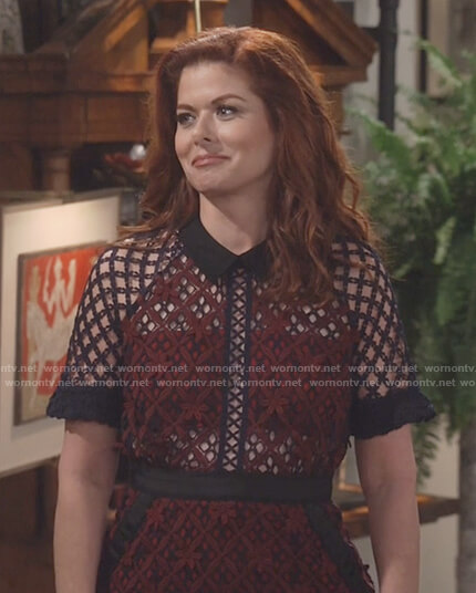 Grace's burgundy and black lace dress on Will and Grace