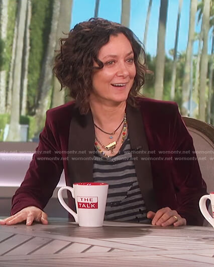 Sara's burgundy velvet tuxedo jacket on The Talk
