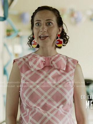 Carol's pink plaid maternity dress on Last Man on Earth