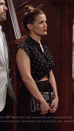 Chelsea's black square dotted crop top on The Young and the Restless