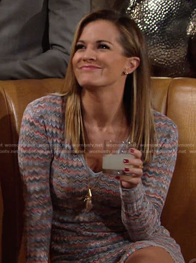 Chelsea's chevron striped v-neck long sleeve dress on The Young and the Restless