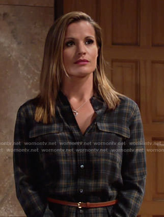 Chelsea's plaid shirtdress on The Young and the Restless