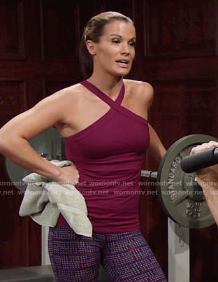 Chelsea's purple gym outfit on The Young and the Restless