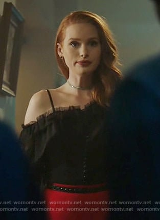 Cheryl's black ruffled one-shoulder top on Riverdale
