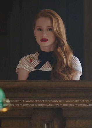Cheryl's black and white bow neck dress on Riverdale