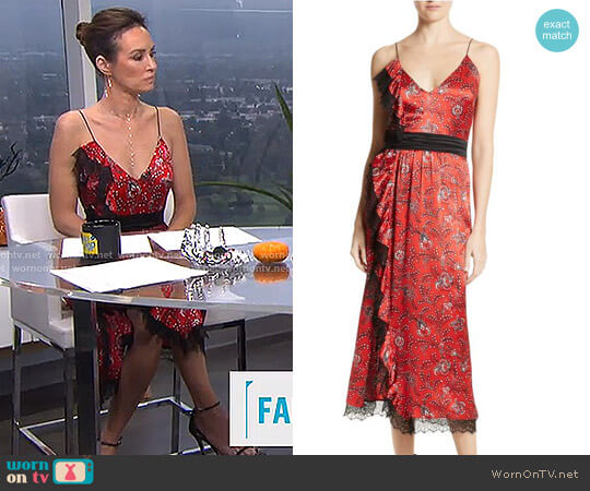 'Petra' Silk Midi Dress by Cinq a Sept worn by Catt Sadler on E! News
