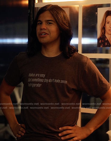 Cisco's refrigerator haiku t-shirt on The Flash