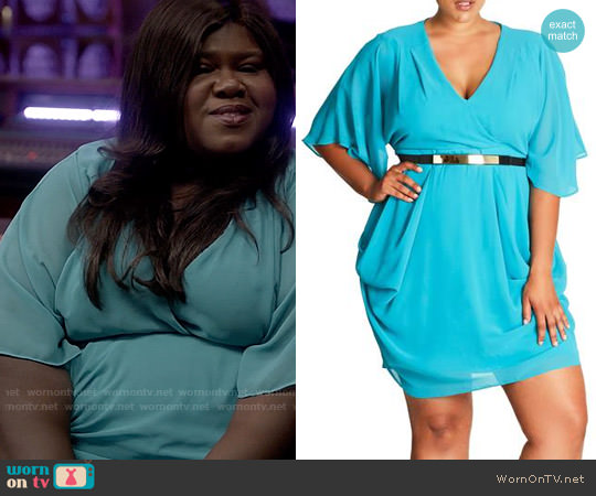 City Chic Belted Chiffon Faux Wrap Dress worn by Gabourey Sidibe on Empire