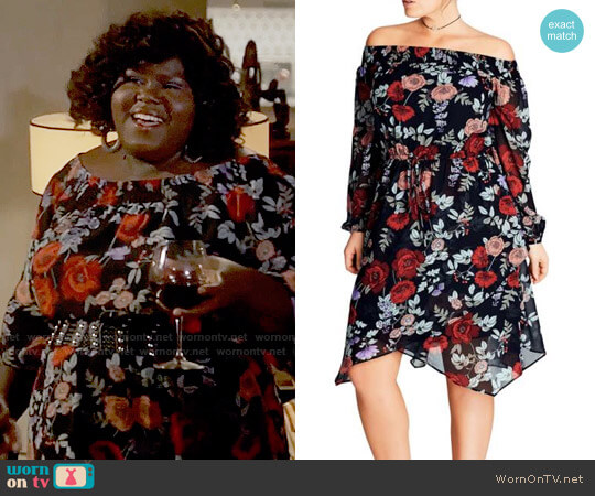 City Chic Dark Poppy Off the Shoulder Dress worn by Gabourey Sidibe on Empire