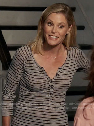 Claire's grey striped henley tee on Modern Family