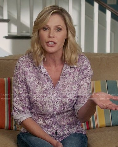 Claire's purple floral shirt on Modern Family