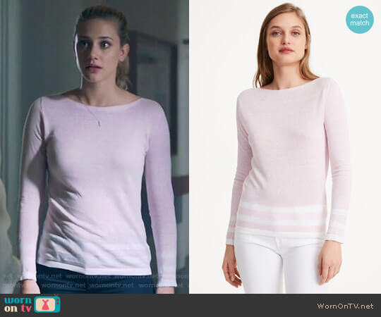 Club Monaco Lana Block Strip Sweater worn by Lili Reinhart on Riverdale