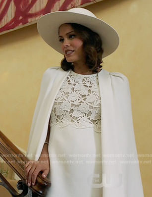 Cristal's white lace caped dress on Dynasty