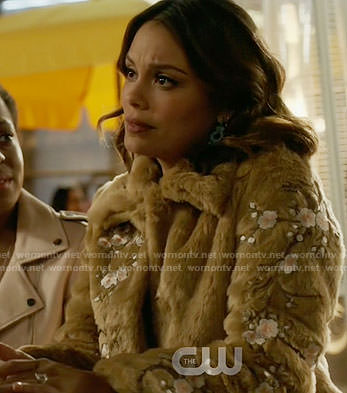 Cristal's floral embroidered fur coat on Dynasty