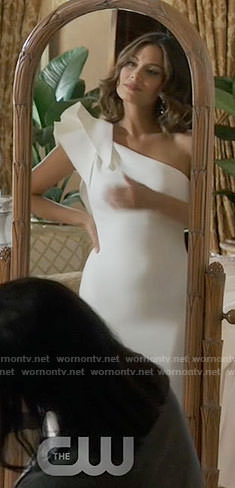 Cristal's one-shoulder wedding dress on Dynasty