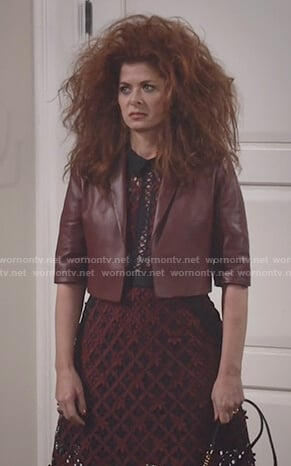 Grace's maroon cropped leather jacket on Will and Grace