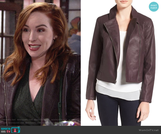 Cupcakes and Cashmere 'Joslyn' Faux Leather Moto Jacket in Oxblood worn by Mariah Copeland (Camryn Grimes) on The Young & the Restless