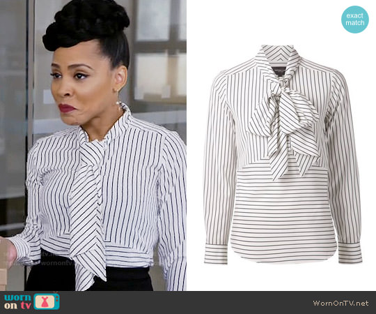 Derek Lam Striped Pussy Bow Blouse worn by Tegan Price (Amirah Vann) on HTGAWM