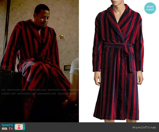Derek Rose Striped Velour Robe worn by Lucious Lyon (Terrence Howard) on Empire