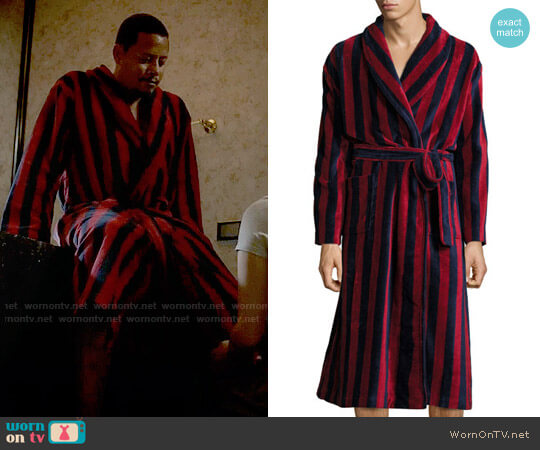 Derek Rose Striped Velour Robe worn by Terrence Howard on Empire