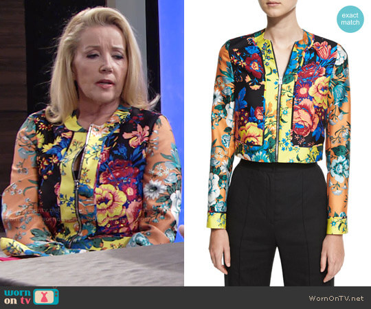 Diane von Furstenberg Bournier Fitted Paneled Collarless Jacket worn by Melody Thomas-Scott on The Young & the Restless