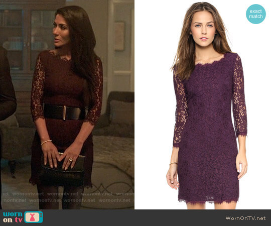 Diane von Furstenberg Zarita Lace Dress worn by Hermione Lodge (Marisol Nichols) on Riverdale