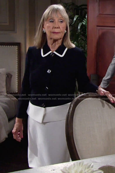 Dina's colorblock jacket with square buttons on The Young and the Restless