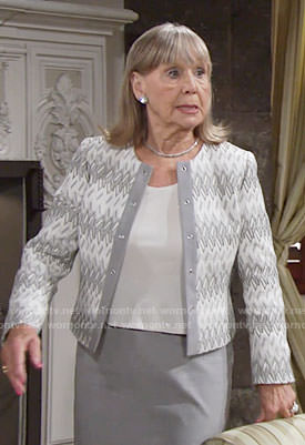 Dina's grey and white patterned jacket on The Young and the Restless