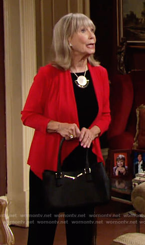 Dina's red cardigan and gold disc necklace on The Young and the Restless