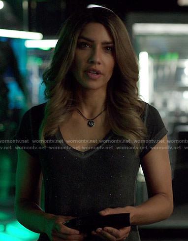 Dinah's studded v-neck tee on Arrow