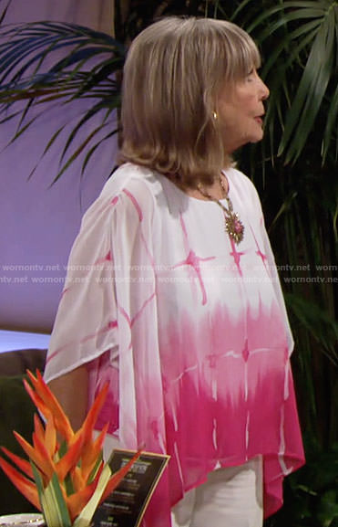 Dina's pink and white poncho top on The Young and the Restless