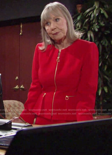 Dina's red peplum jacket with gold zips on The Young and the Restless