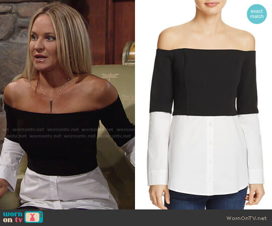 Do and Be Off-the-Shoulder Layered-Look Top worn by Sharon Case on The Young & the Restless