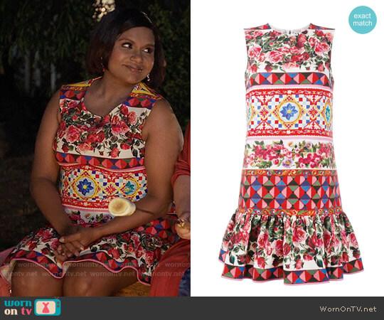 Dolce & Gabbana Mambo Print Peplum Dress worn by Mindy Lahiri (Mindy Kaling) on The Mindy Project