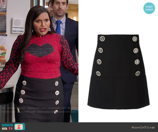 Dolce & Gabbana Nautical Button Skirt worn by Mindy Lahiri (Mindy Kaling) on The Mindy Project