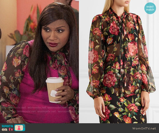 Dolce & Gabbana Rose pussy-bow printed silk-chiffon blouse worn by Mindy Kaling on The Mindy Project