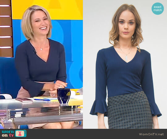Ruffle Sleeve V-Neck Knit Top by Donna Degnan worn by Amy Robach on Good Morning America