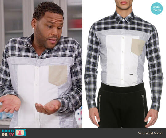 Dsquared2 Mixed-Plaid Cotton Shirt worn by Anthony Anderson on Blackish