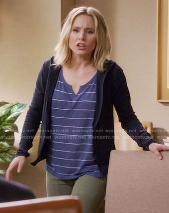 Eleanor's blue striped split-neck tee on The Good Place
